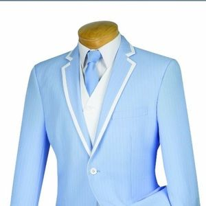 Other - Light Blue 3 Piece Wool Feel striped Suit